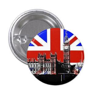 Big Ben y Union Jack Pin Redondo 2,5 Cm