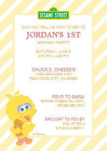 Big Bird Baby Birthday Invitation