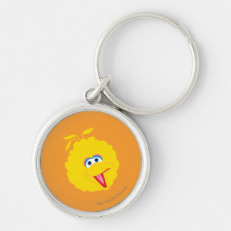 Big Bird Face Silver-Colored Round Keychain