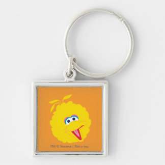 Big Bird Face Silver-Colored Square Keychain