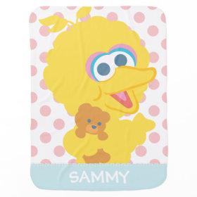 Big Bird Holding Teddy Bear Stroller Blanket
