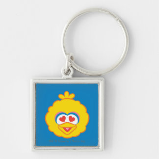 Big Bird Smiling Face with Heart-Shaped Eyes Keychain