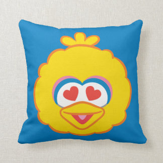 Big Bird Smiling Face with Heart-Shaped Eyes Throw Pillow