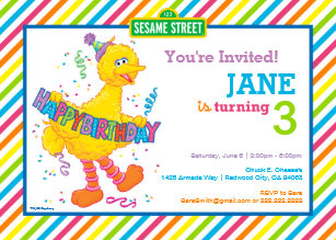 Big Bird Striped Birthday Invitation
