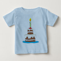 Big Birthday Cake and Candle Baby T-Shirt