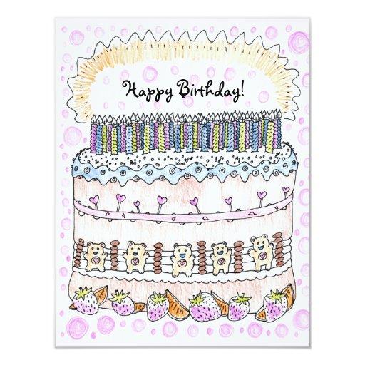 Big Birthday Cake - Sweet Pink Greeting Card