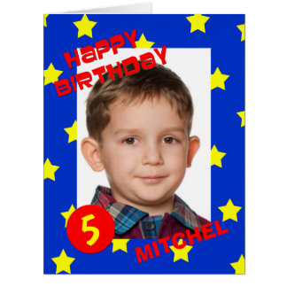 Big Birthday Card with Large Photo Custom Any Age