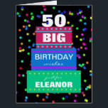 """Big Birthday Greeting Cards Any Age<br><div class=""""desc"""">This big birthday card features a colorful confetti background on black. A three layer cake contains a birthday message of &quot;BIG BIRTHDAY wishes just for (NAME).&quot; You can even customize the age of the birthday celebrant on the top of the cake. Inside is a cute birthday verse with an ending...</div>"""