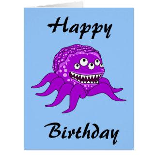 Big Birthday Purple Octopuss Monster Card