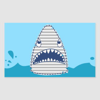 Big bite shark rectangular sticker