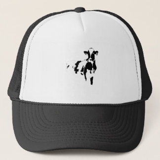 big black and white cow trucker hat