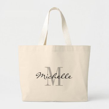 logotees Big black and white name monogram jumbo tote bags