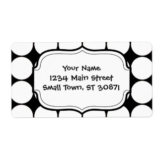 Big Black and White Polka Dots Circles Pattern Label