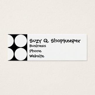 Big Black and White Polka Dots Circles Pattern Mini Business Card