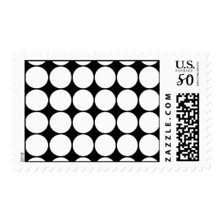 Big Black and White Polka Dots Circles Pattern Postage