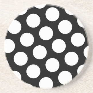Big Black and White Polka Dots Drink Coaster