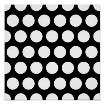 Big Black and White Polka Dots Poster