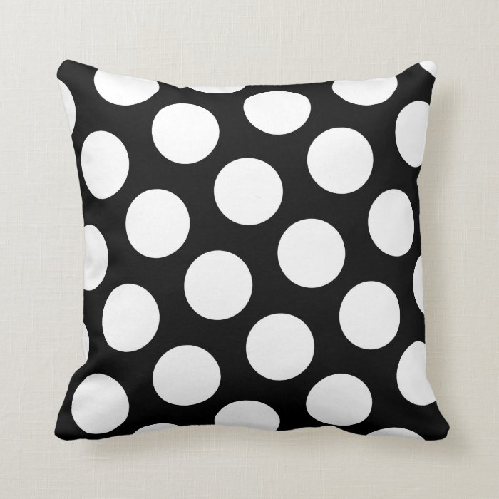 Big White Throw Pillows : Big Black and White Polka Dots Throw Pillow Zazzle