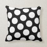 "Big Black and White Polka Dots Throw Pillow<br><div class=""desc"">Big white polka dots against black. Add your custom message to personalize this gift.</div>"