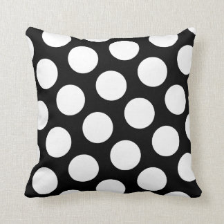 Big Black and White Polka Dots Throw Pillow