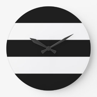 Big Black and White Stripes Large Clock