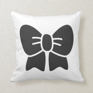 Big Black Bow Throw Pillow