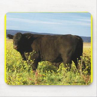 Big Black Bull in Sunflowers - Toro - Taurus Mouse Pad