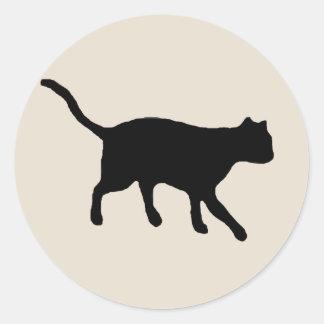 big black cat classic round sticker