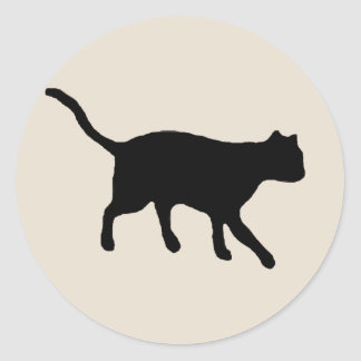 big black cat round stickers