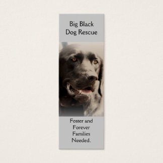 Big Black  Dog Rescue Bookmark Style Biz Card