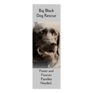 Big Black  Dog Rescue Bookmark Style Biz Card Double-Sided Mini Business Cards (Pack Of 20)