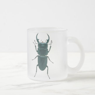 Big Black Dung Beetle Frosted Glass Coffee Mug