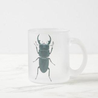 Big Black Dung Beetle Frosted Glass Coffee Mug