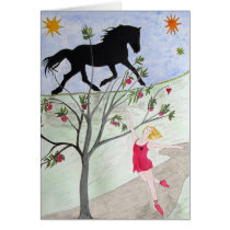 'Big Black Horse And A Cherry Tree' Card