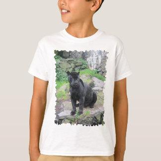 Big Black Jaguar Cat on Sitting on Rock T-Shirt
