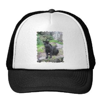 Big Black Jaguar Cat on Sitting on Rock Trucker Hat