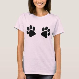 Big Black Paw Prints Large Dog Lover T-Shirt