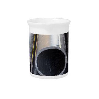 Big black pipe closeup plastic large diameter for beverage pitcher