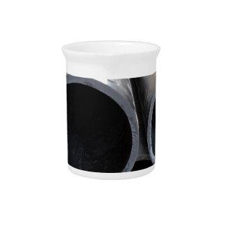 Big black pipe closeup plastic large diameter for drink pitcher
