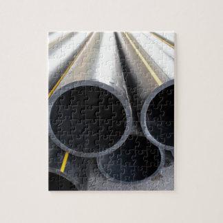 Big black pipe closeup plastic large diameter for puzzle