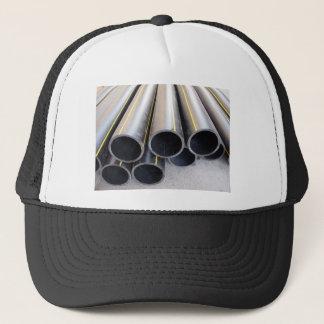 Big black pipe closeup plastic large diameter for trucker hat