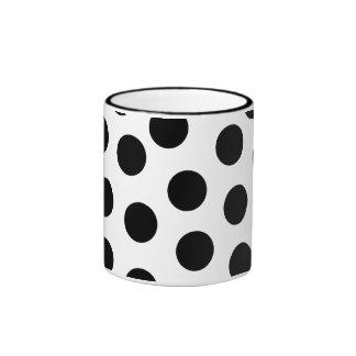 Big Black Polka Dots on Customizable Background Ringer Coffee Mug