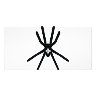 big black spider with cross icon photo card