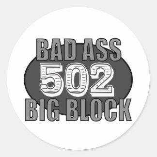 big block bad 502 classic round sticker
