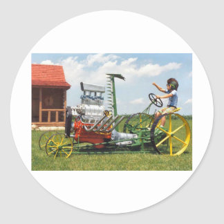 Big Block Lawn Mower Classic Round Sticker