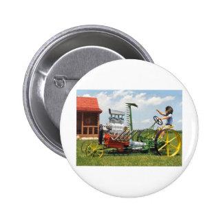Big Block Lawn Mower Pinback Button