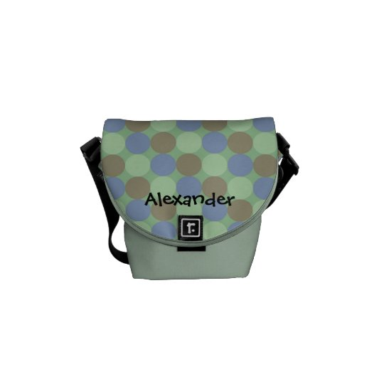Big Blue and Green Personalized Name Diaper Tote Courier Bag