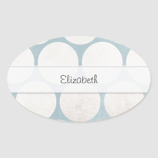 Big Blue and White Dots Slight Grunge Stitched Oval Stickers