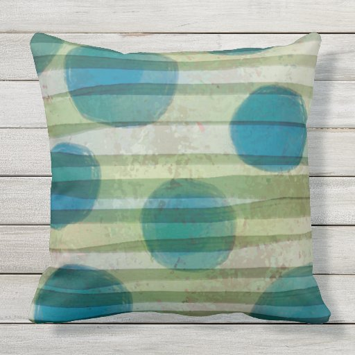 Wash Or Throw Away Pillows : BIG BLUE BALLS water color wash Throw Cushion Outdoor Pillow Zazzle