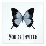"Big Blue & Black Butterfly 5.25"" Square Invitation Card"